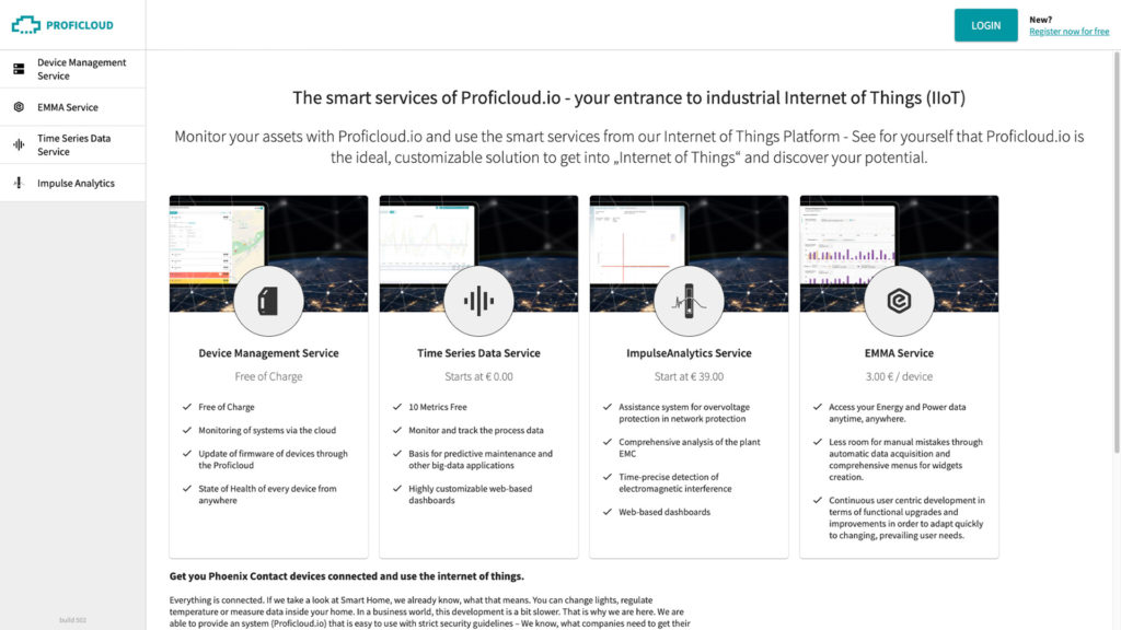 The public available Service Store of Proficloud.io show the different Smart Services.