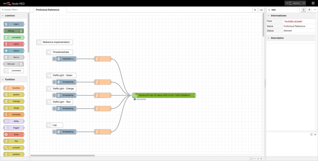 ProficloudDevice-Node, which represents the Cloud-Device in NodeRED with all its capabilities