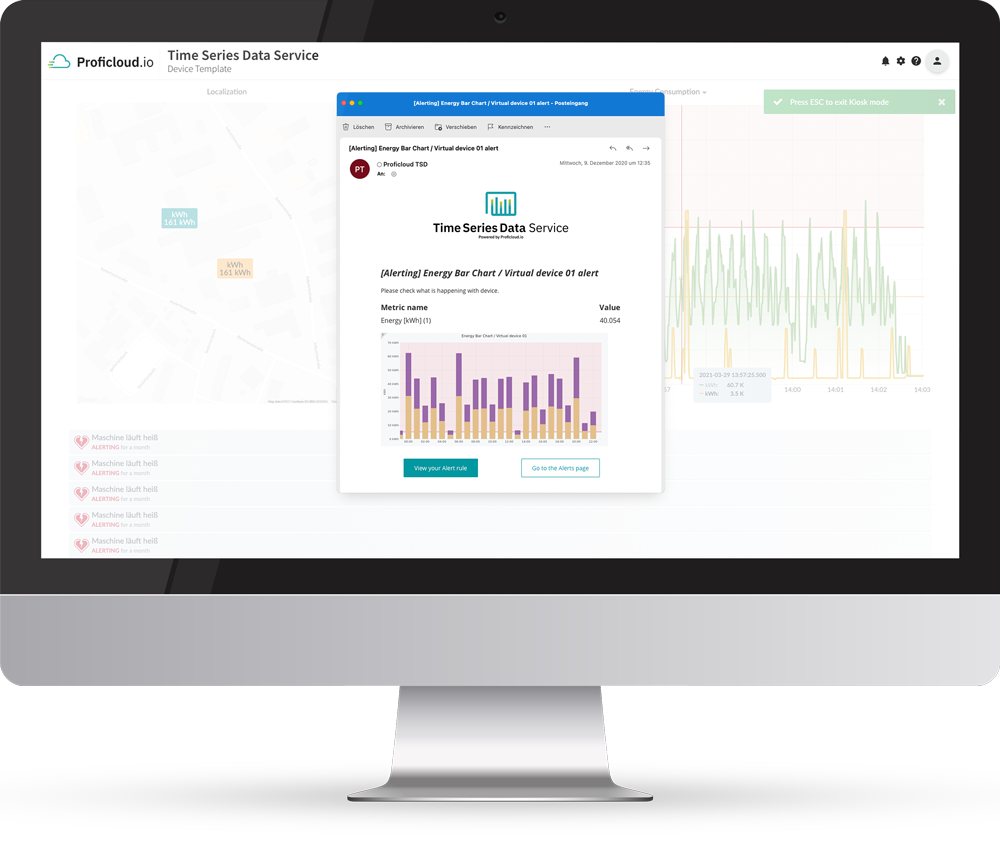 Time Series Data Service on Proficloud.io has a built in alerting feature.