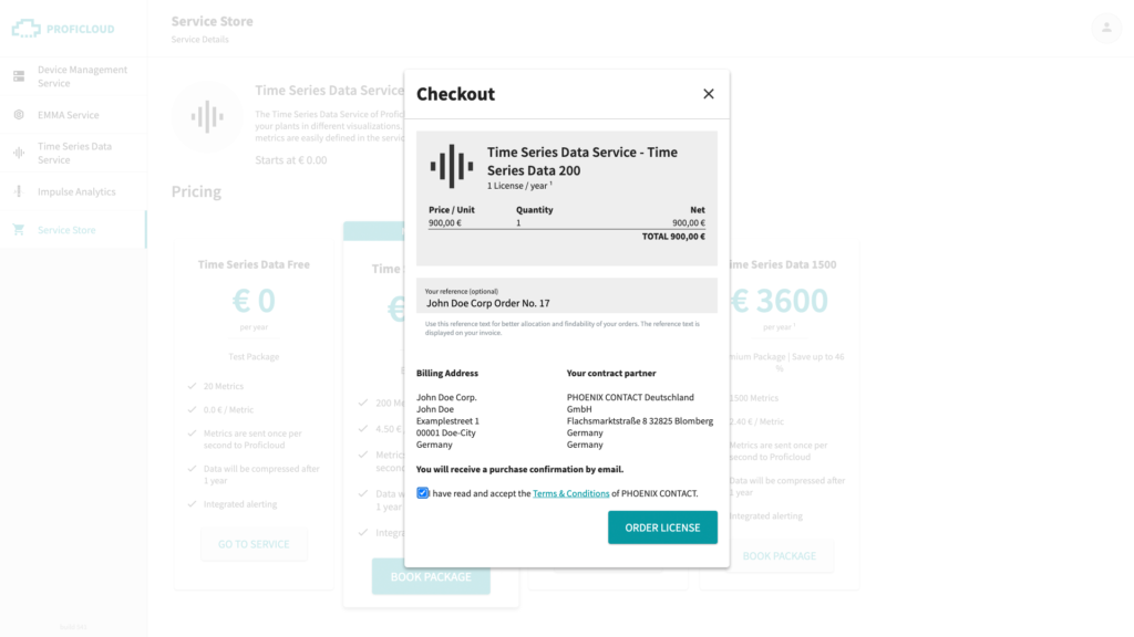 Checkout information to book a Smart Service in the Service Store on Proficloud.io