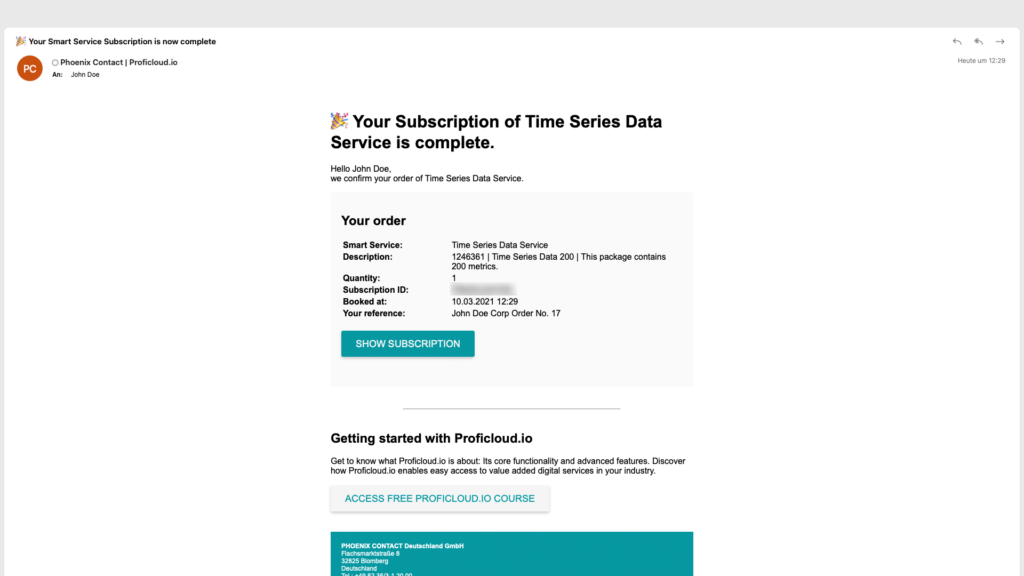 Service Store on Proficloud.io's Email-confirmation